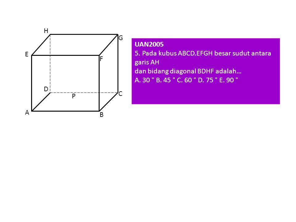 H G. UAN2005. 5. Pada kubus ABCD.EFGH besar sudut antara garis AH. dan bidang diagonal BDHF adalah…