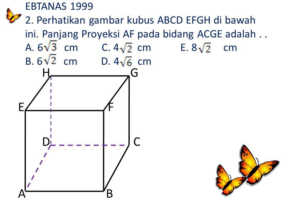 EBTANAS 1999 2. Perhatikan gambar kubus ABCD EFGH di bawah ini