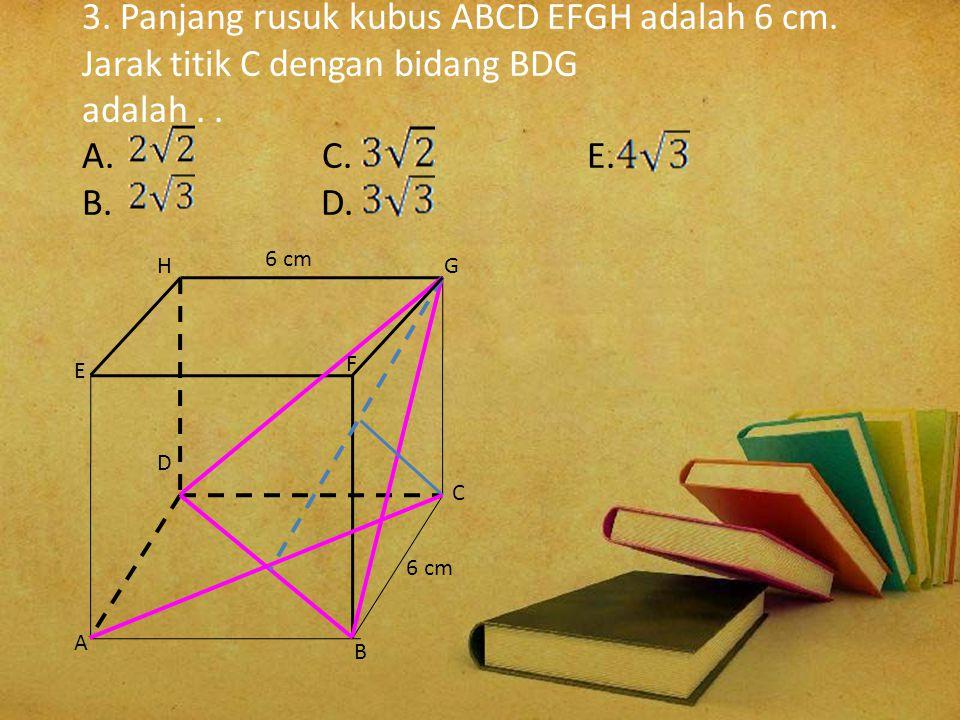 3. Panjang rusuk kubus ABCD EFGH adalah 6 cm