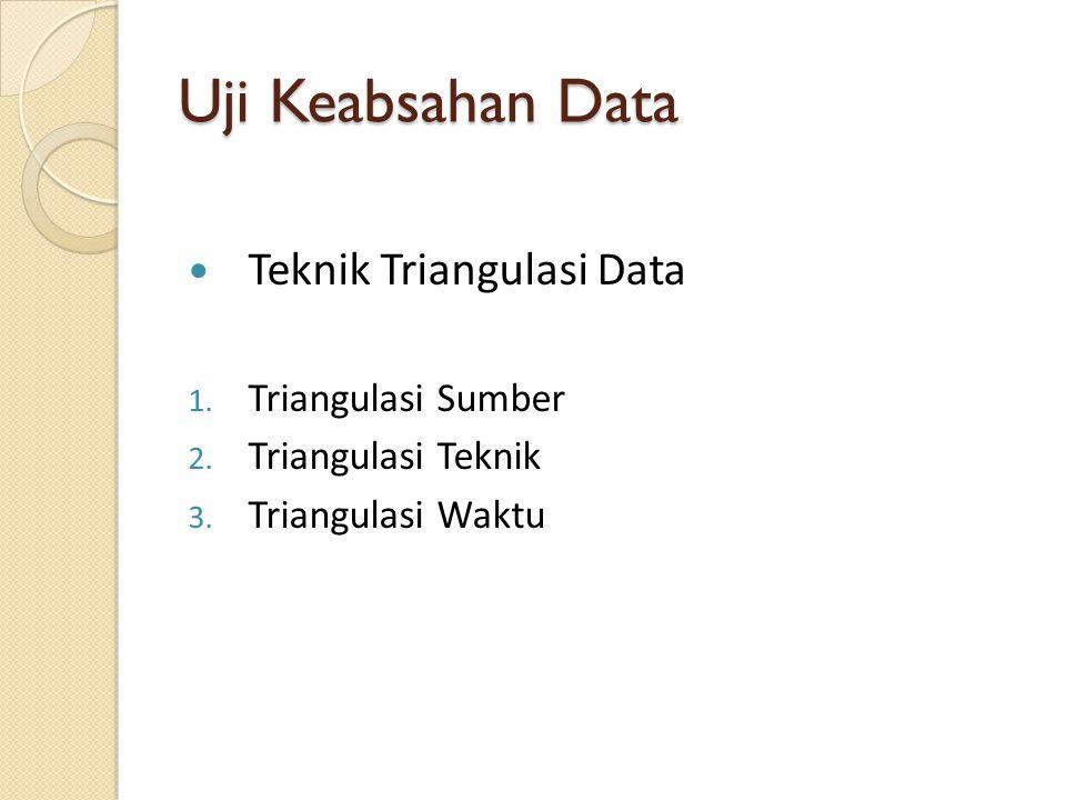 Uji Keabsahan Data Teknik Triangulasi Data Triangulasi Sumber