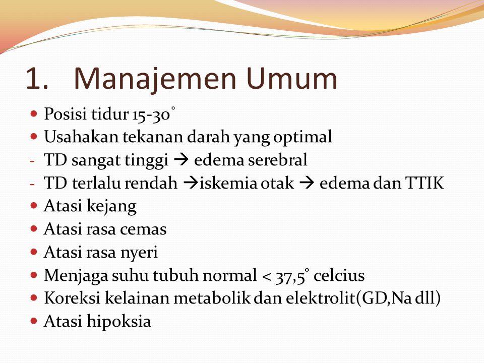 Manajemen Umum Posisi tidur 15-30˚ Usahakan tekanan darah yang optimal