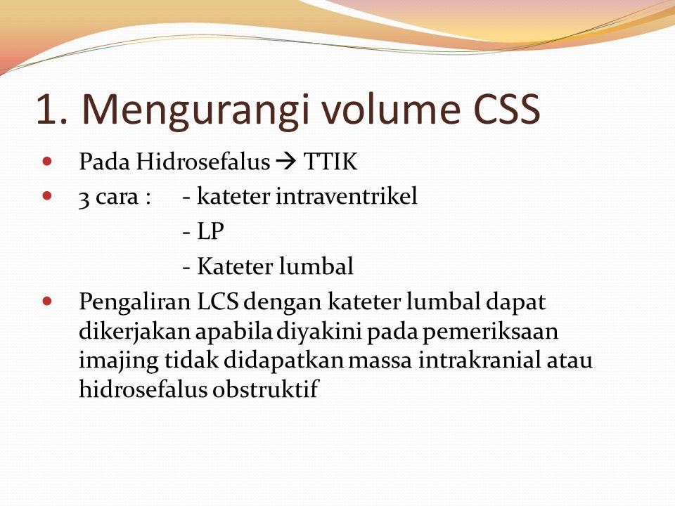 1. Mengurangi volume CSS Pada Hidrosefalus  TTIK