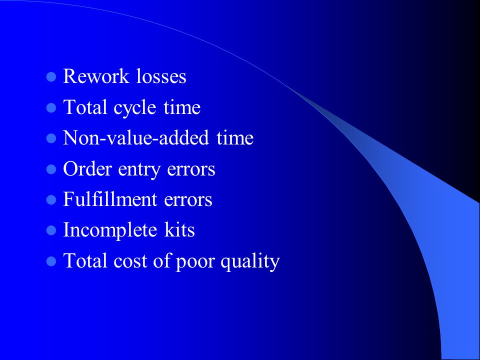 Rework losses Total cycle time. Non-value-added time. Order entry errors. Fulfillment errors. Incomplete kits.