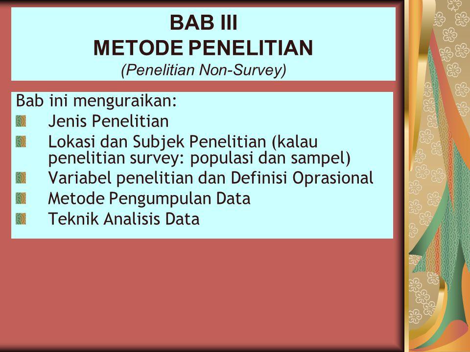 BAB III METODE PENELITIAN (Penelitian Non-Survey)