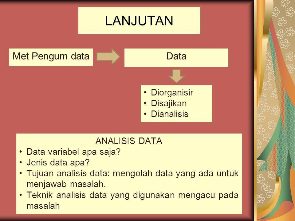 LANJUTAN Met Pengum data Data Diorganisir Disajikan Dianalisis