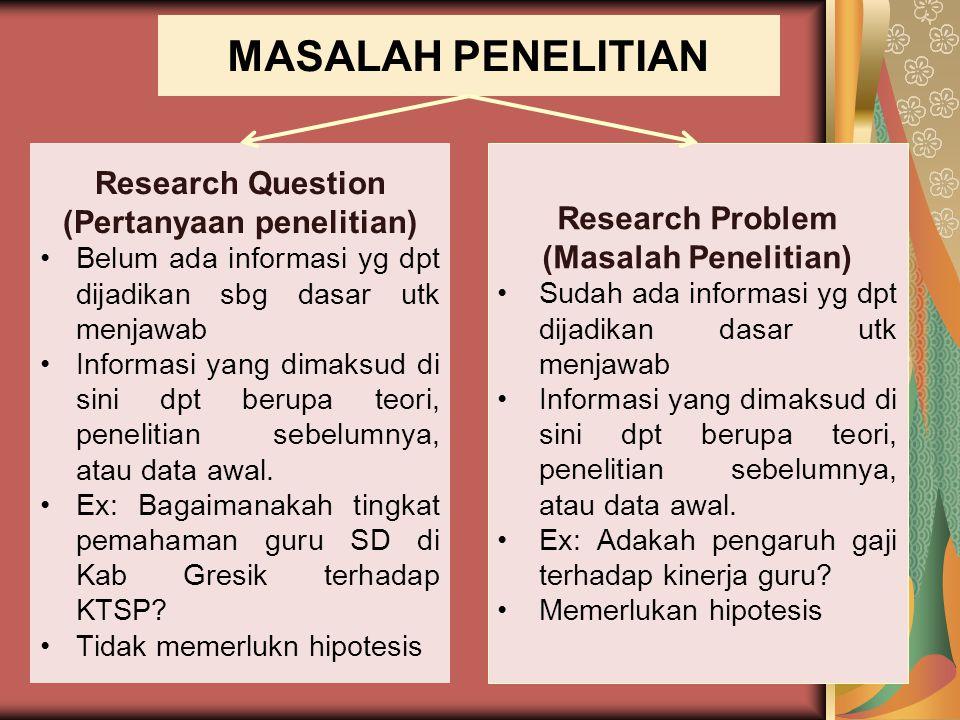 MASALAH PENELITIAN Research Question (Pertanyaan penelitian)