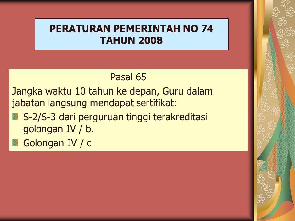 PERATURAN PEMERINTAH NO 74 TAHUN 2008