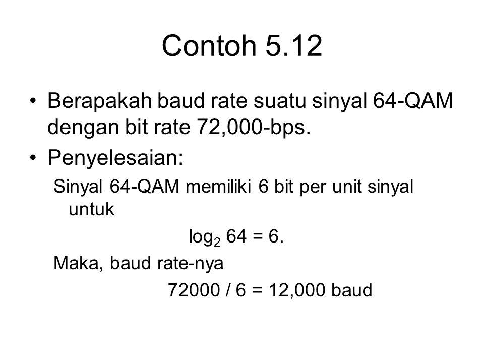 Contoh 5.12 Berapakah baud rate suatu sinyal 64-QAM dengan bit rate 72,000-bps. Penyelesaian: Sinyal 64-QAM memiliki 6 bit per unit sinyal untuk.