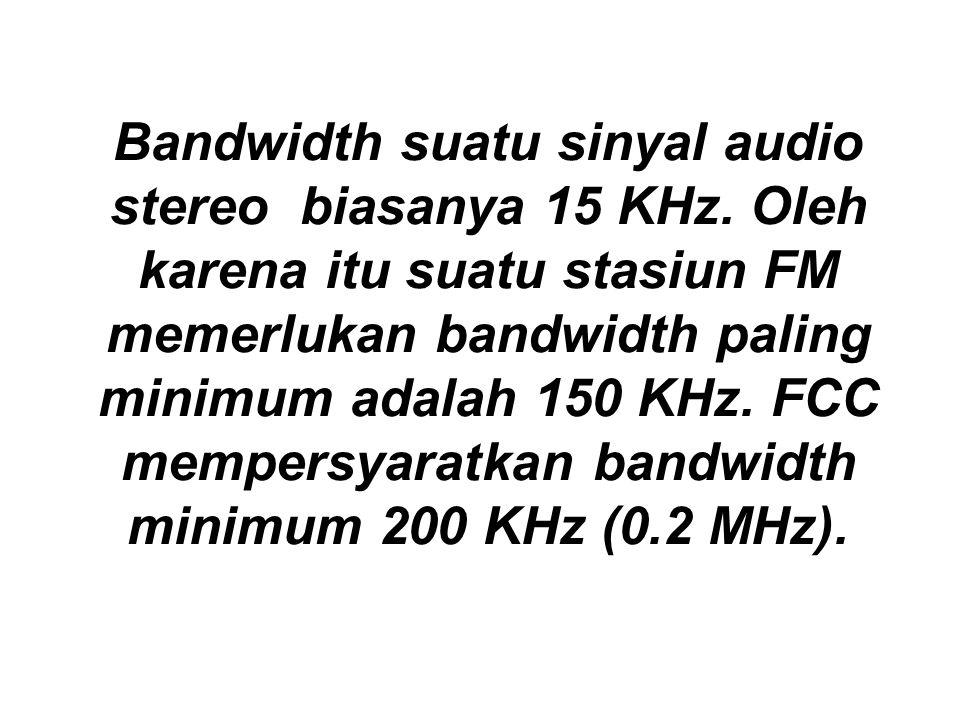 Bandwidth suatu sinyal audio stereo biasanya 15 KHz