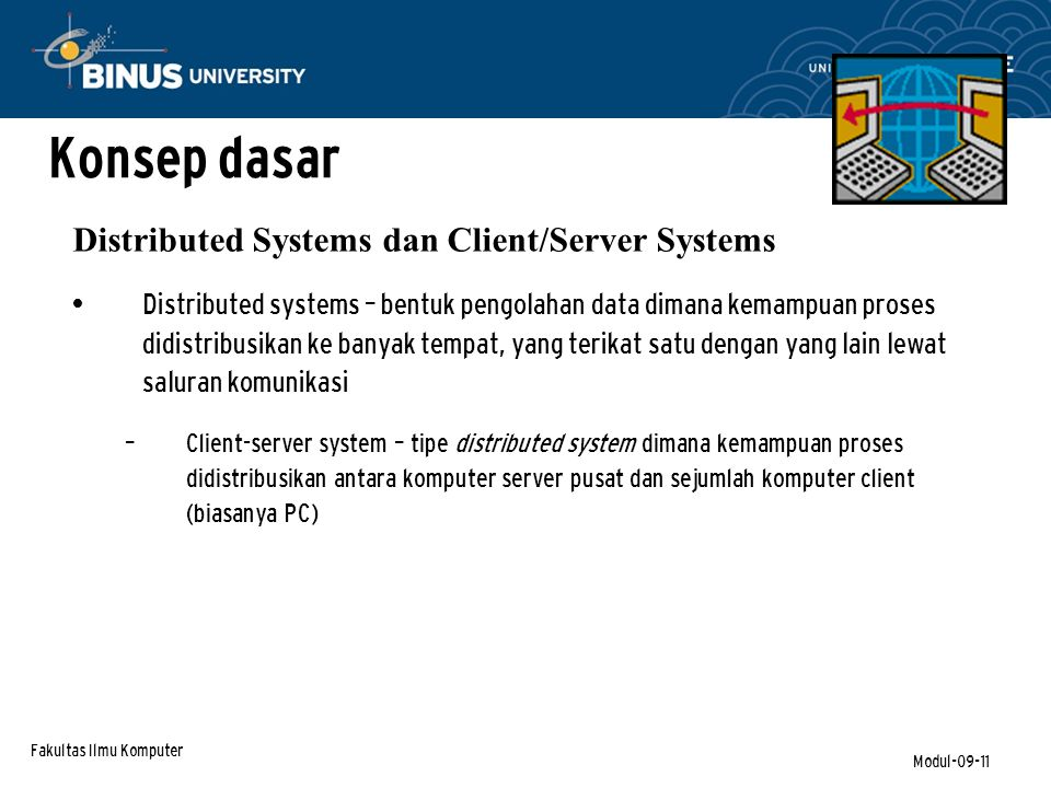 Konsep dasar Distributed Systems dan Client/Server Systems