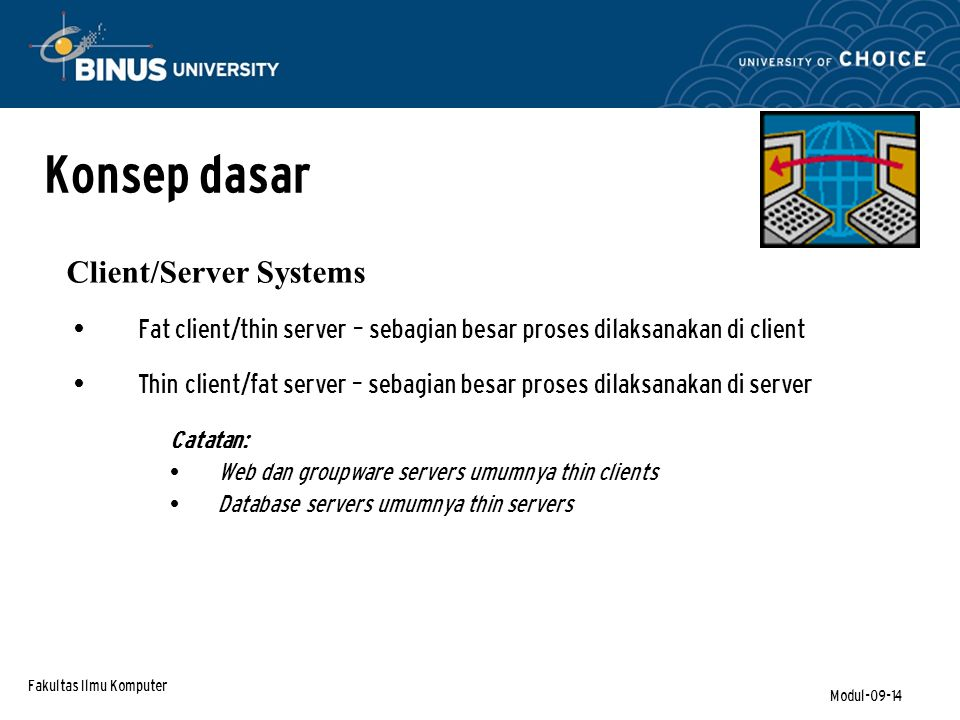 Konsep dasar Client/Server Systems