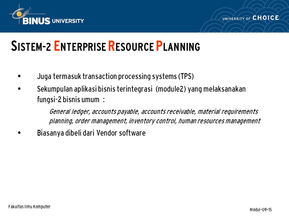 SISTEM-2 ENTERPRISE RESOURCE PLANNING