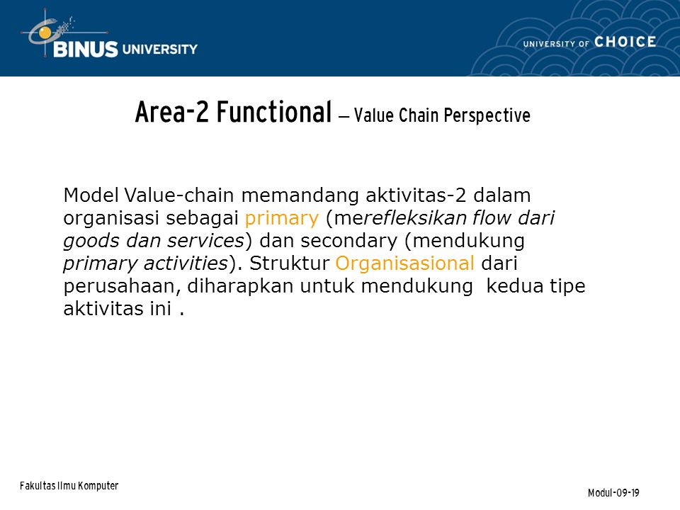 Area-2 Functional – Value Chain Perspective