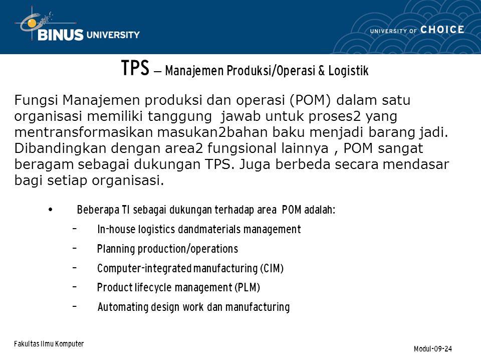 TPS – Manajemen Produksi/Operasi & Logistik