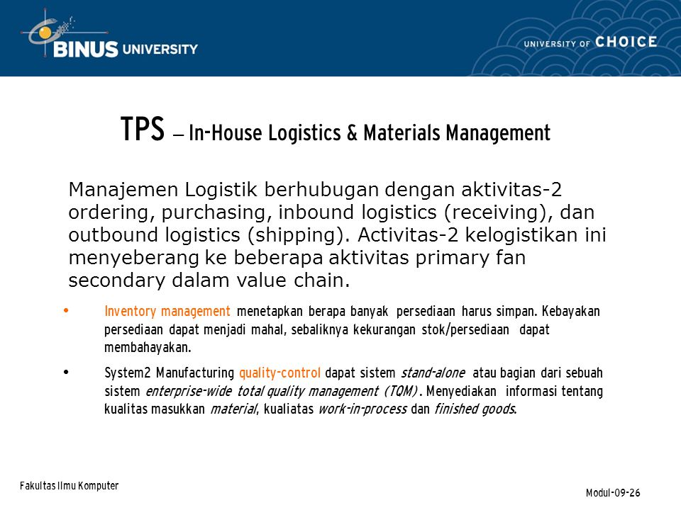 TPS – In-House Logistics & Materials Management