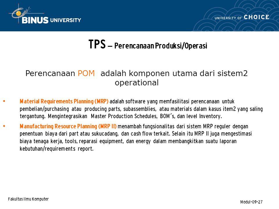 TPS – Perencanaan Produksi/Operasi