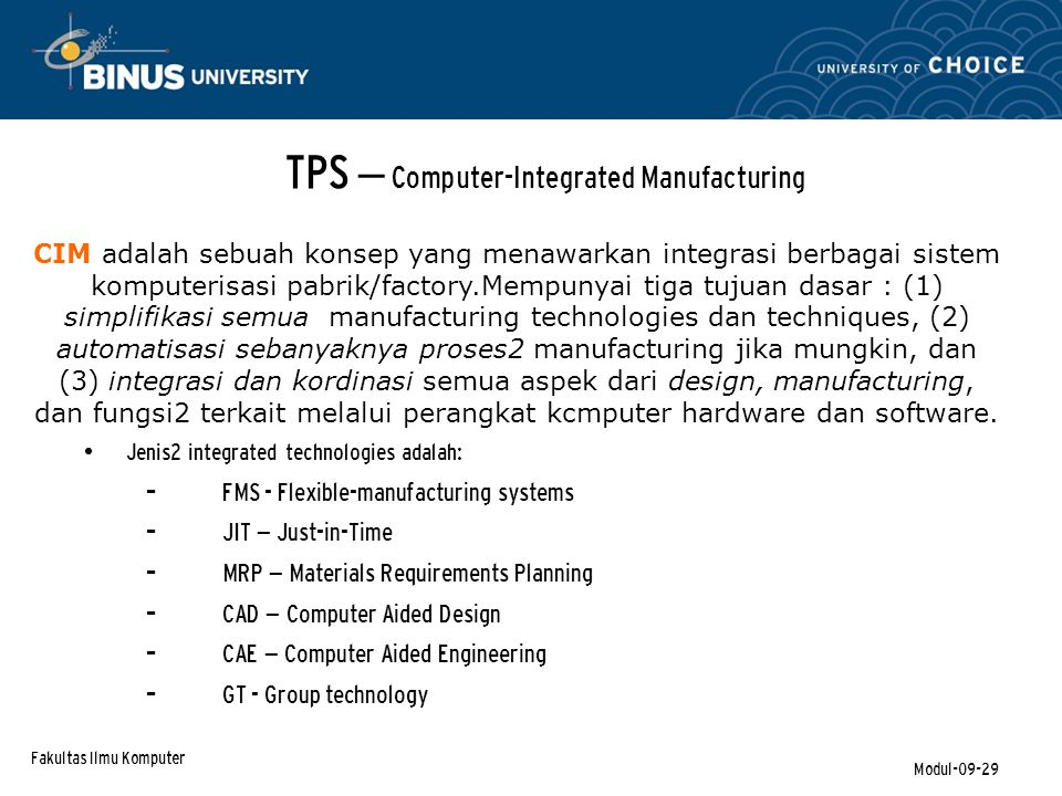 TPS – Computer-Integrated Manufacturing