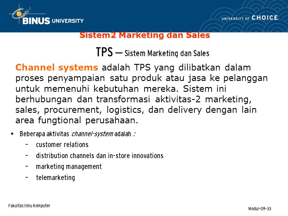 TPS – Sistem Marketing dan Sales