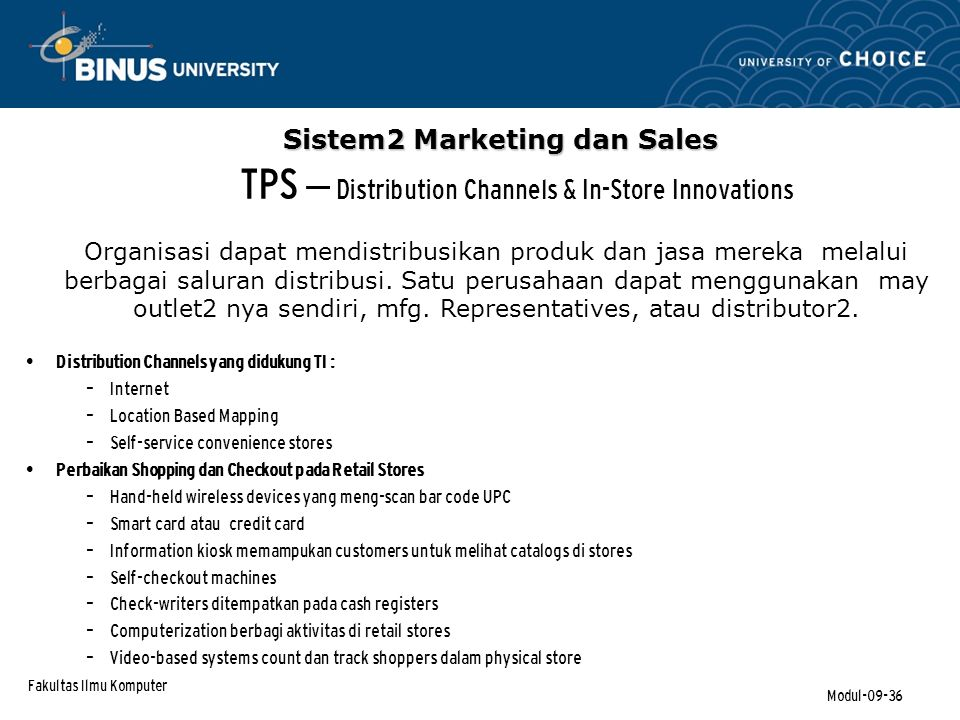 TPS – Distribution Channels & In-Store Innovations
