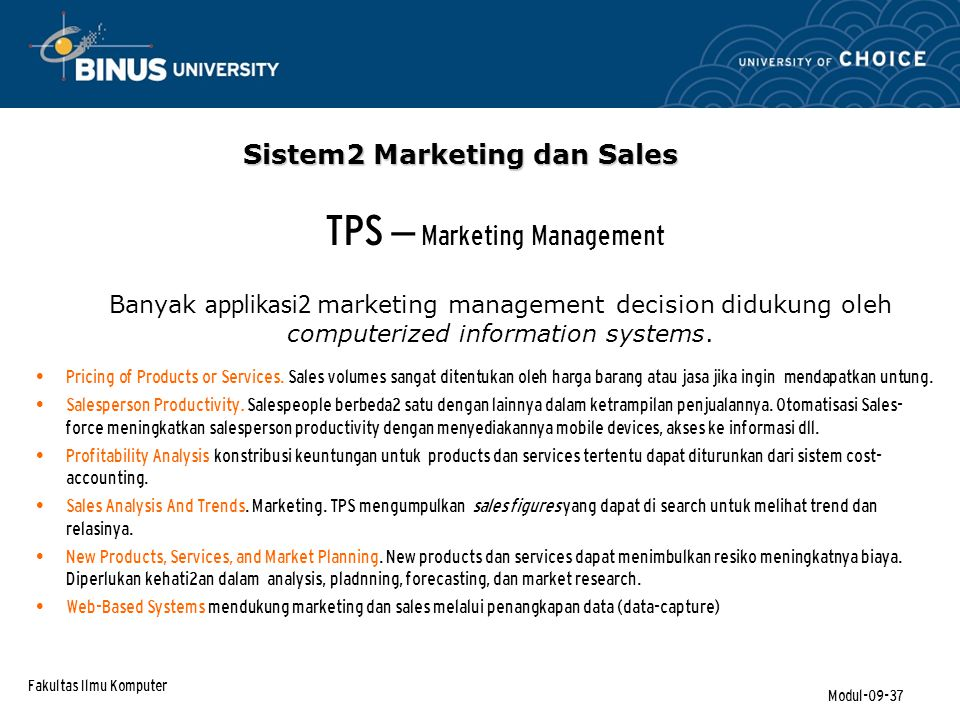 TPS – Marketing Management