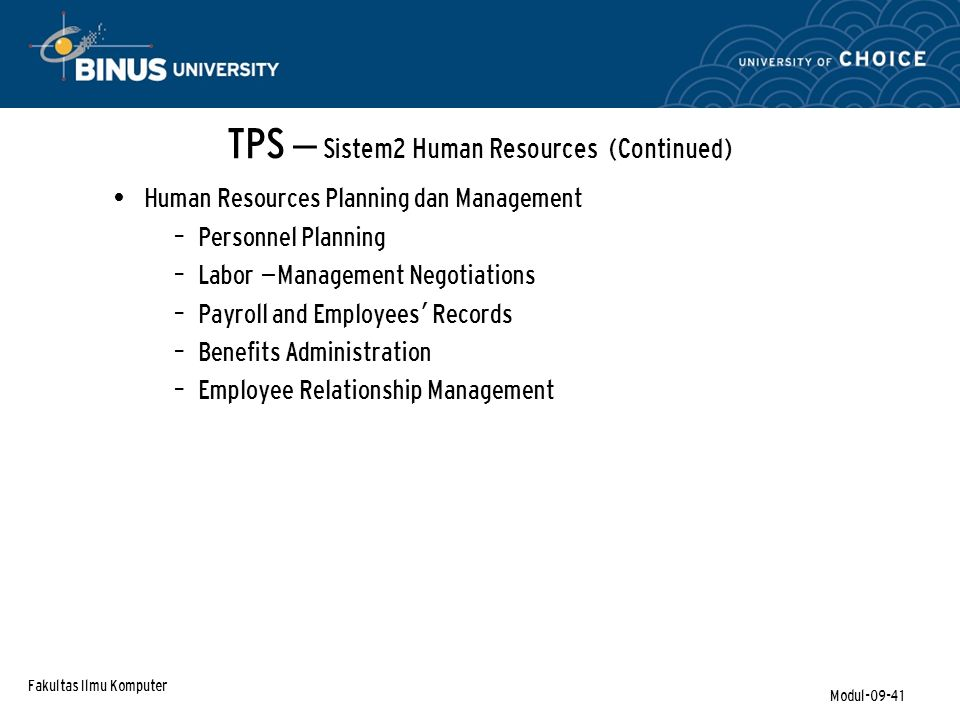 TPS – Sistem2 Human Resources (Continued)