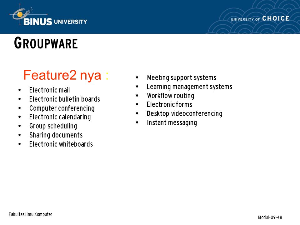 GROUPWARE Feature2 nya : Meeting support systems