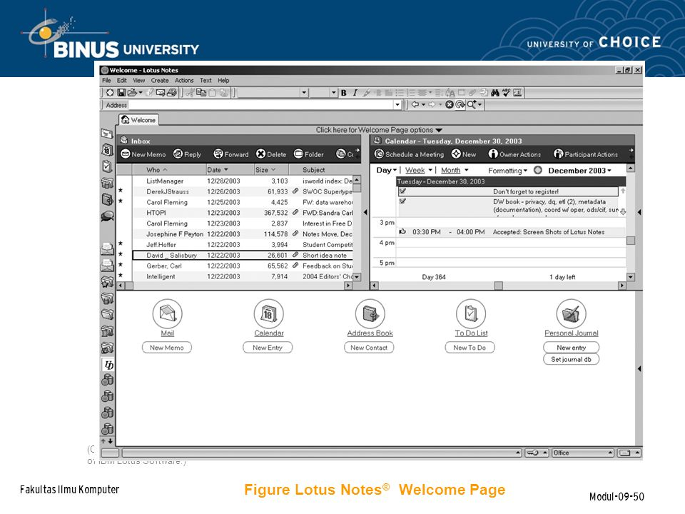 Figure Lotus Notes® Welcome Page