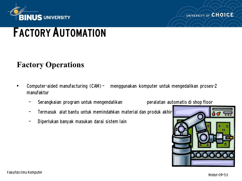 FACTORY AUTOMATION Factory Operations