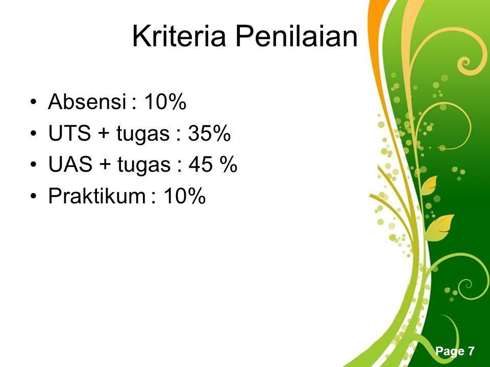 Kriteria Penilaian Absensi : 10% UTS + tugas : 35% UAS + tugas : 45 %