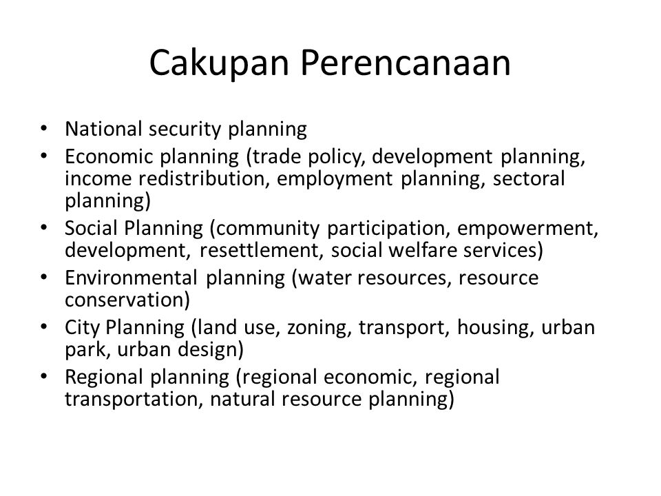 Cakupan Perencanaan National security planning