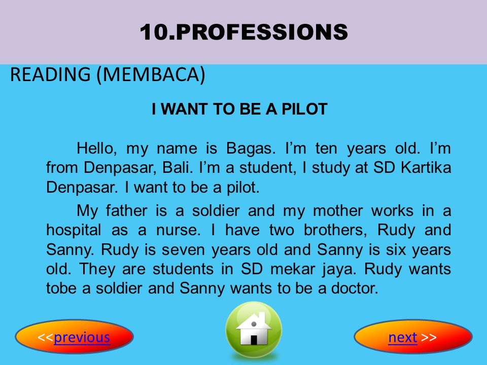 10.PROFESSIONS READING (MEMBACA) I WANT TO BE A PILOT