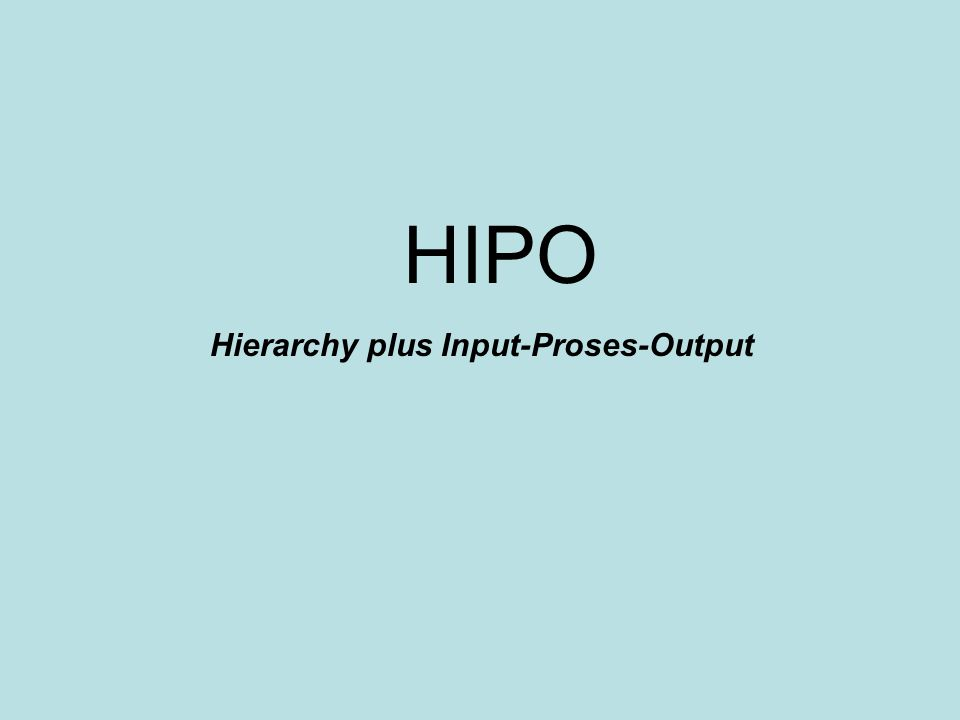 HIPO Hierarchy plus Input-Proses-Output