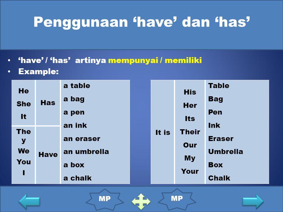 Penggunaan 'have' dan 'has'