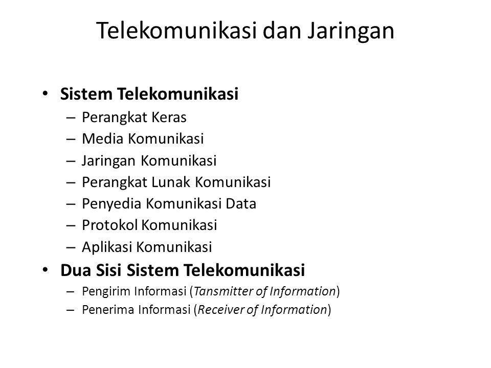 Telekomunikasi dan Jaringan