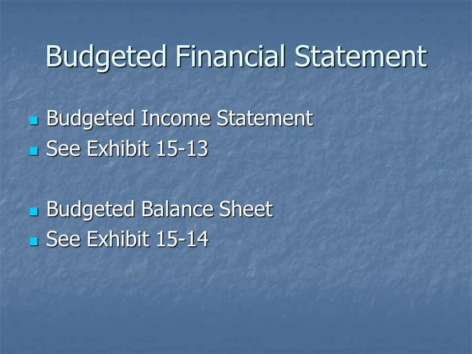 Budgeted Financial Statement