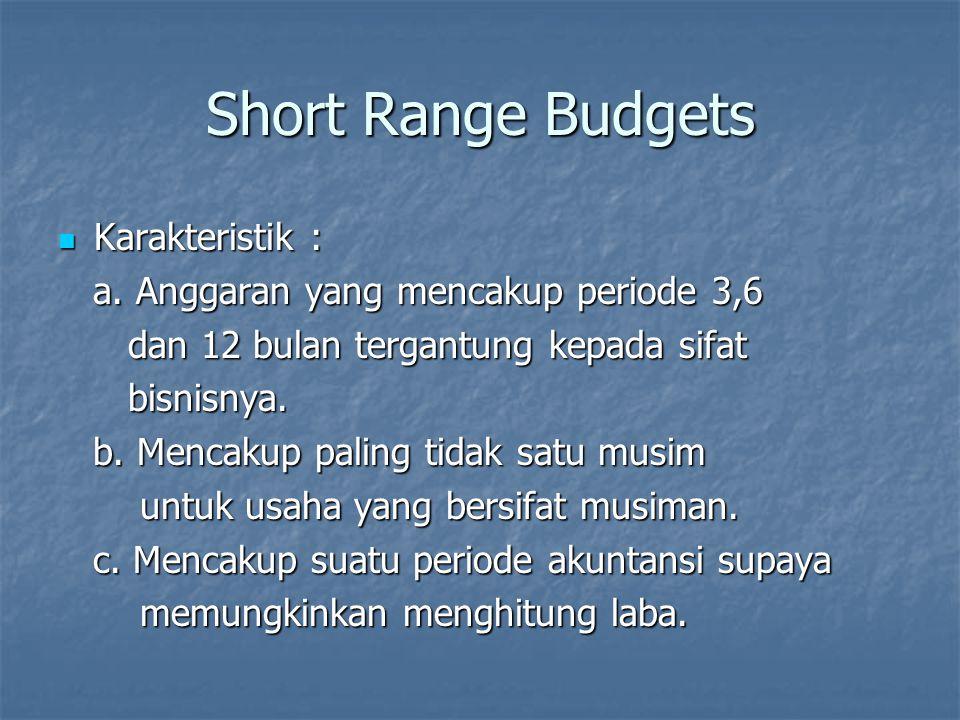 Short Range Budgets Karakteristik :