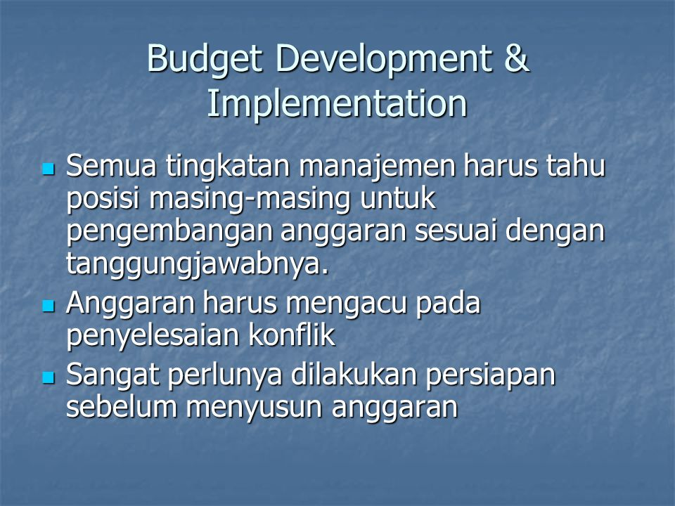 Budget Development & Implementation