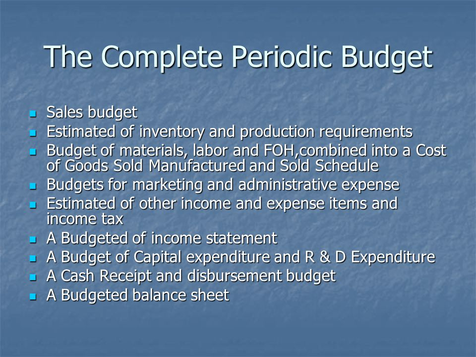 The Complete Periodic Budget
