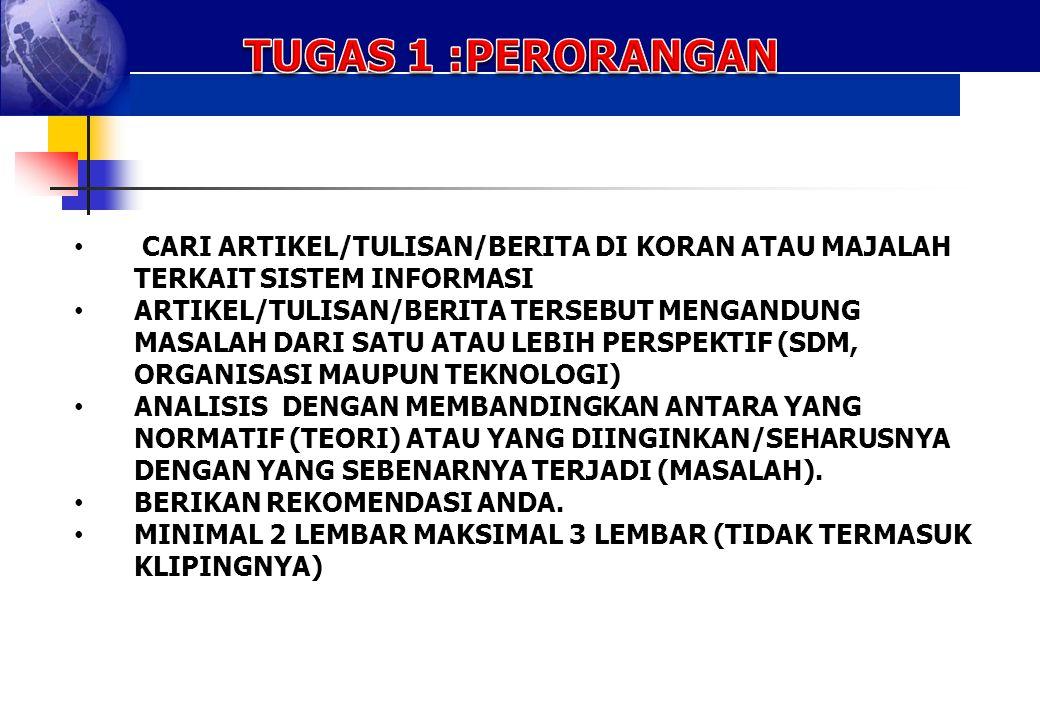TUGAS 1 :PERORANGAN CARI ARTIKEL/TULISAN/BERITA DI KORAN ATAU MAJALAH TERKAIT SISTEM INFORMASI.