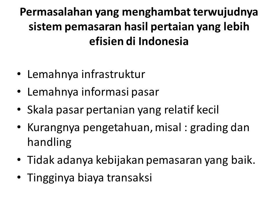 Permasalahan yang menghambat terwujudnya sistem pemasaran hasil pertaian yang lebih efisien di Indonesia