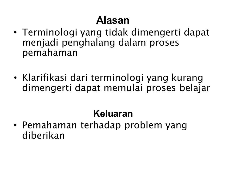 Alasan Terminologi yang tidak dimengerti dapat menjadi penghalang dalam proses pemahaman.