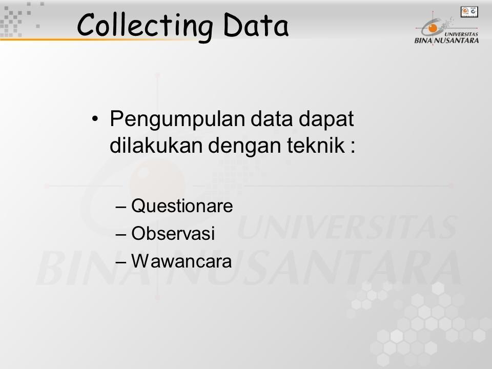 Collecting Data Pengumpulan data dapat dilakukan dengan teknik :