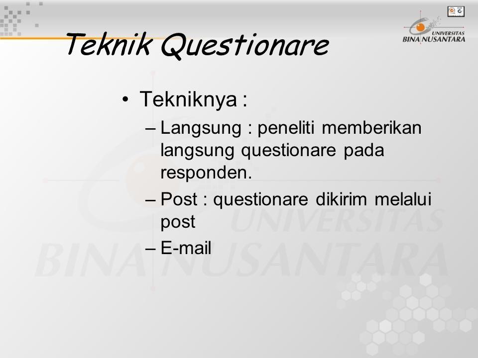 Teknik Questionare Tekniknya :