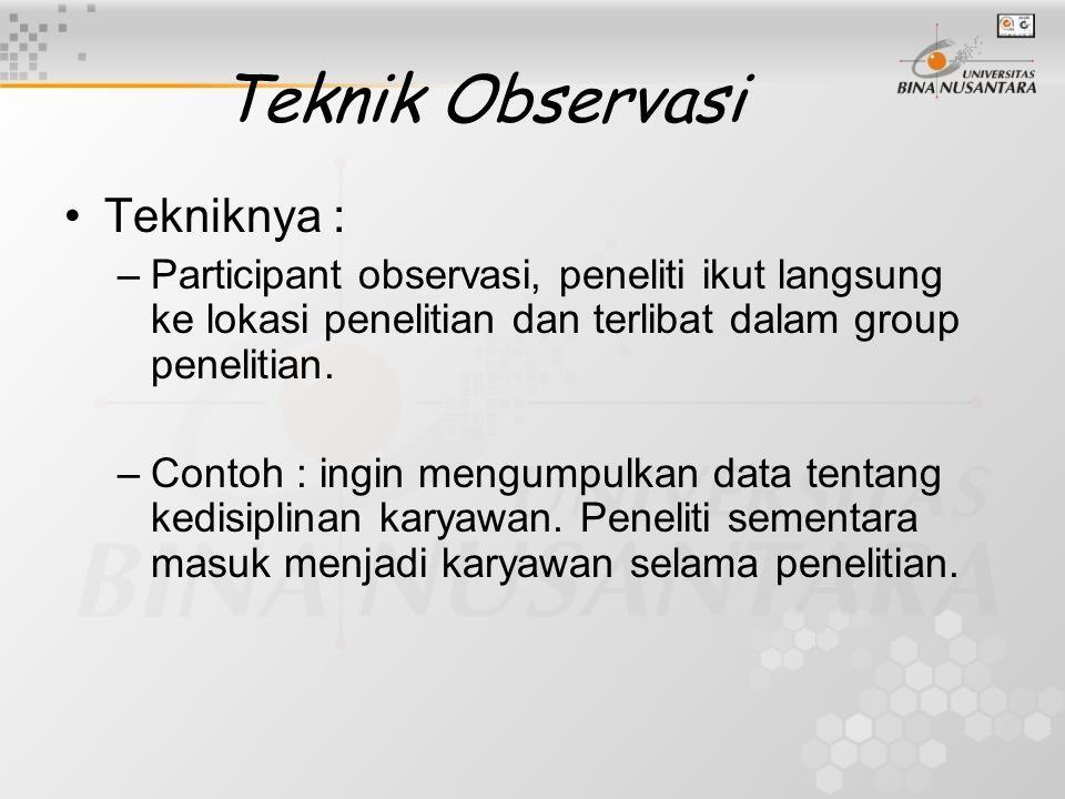 Teknik Observasi Tekniknya :