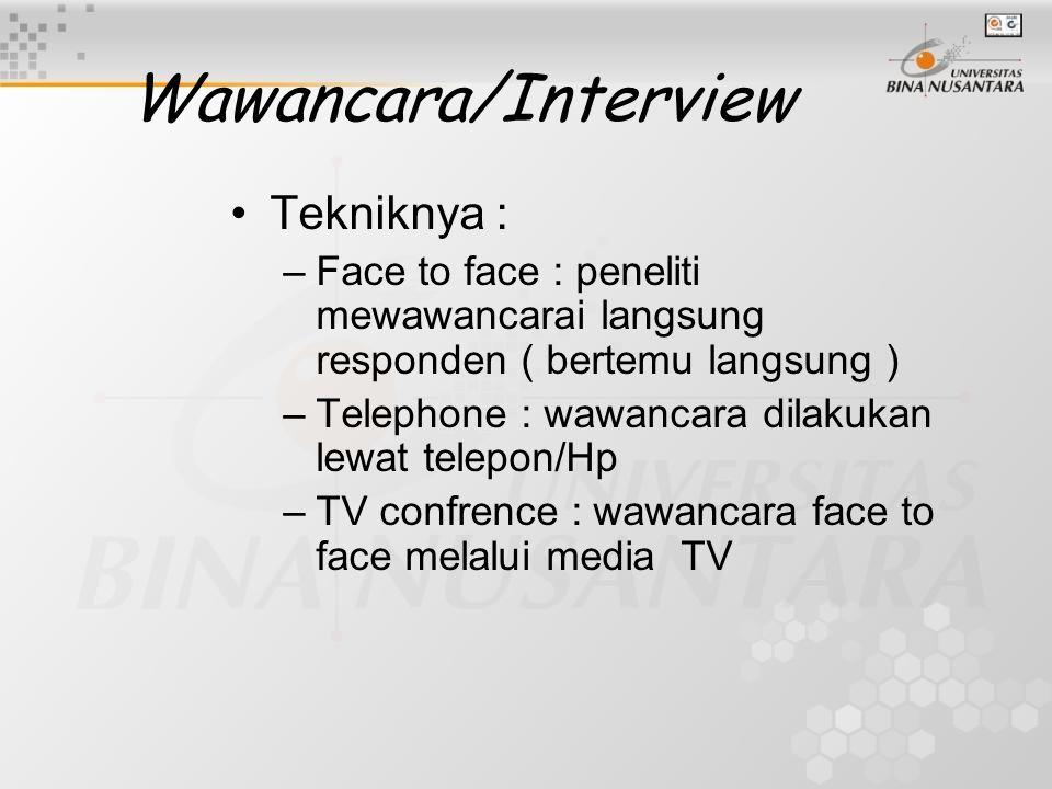 Wawancara/Interview Tekniknya :
