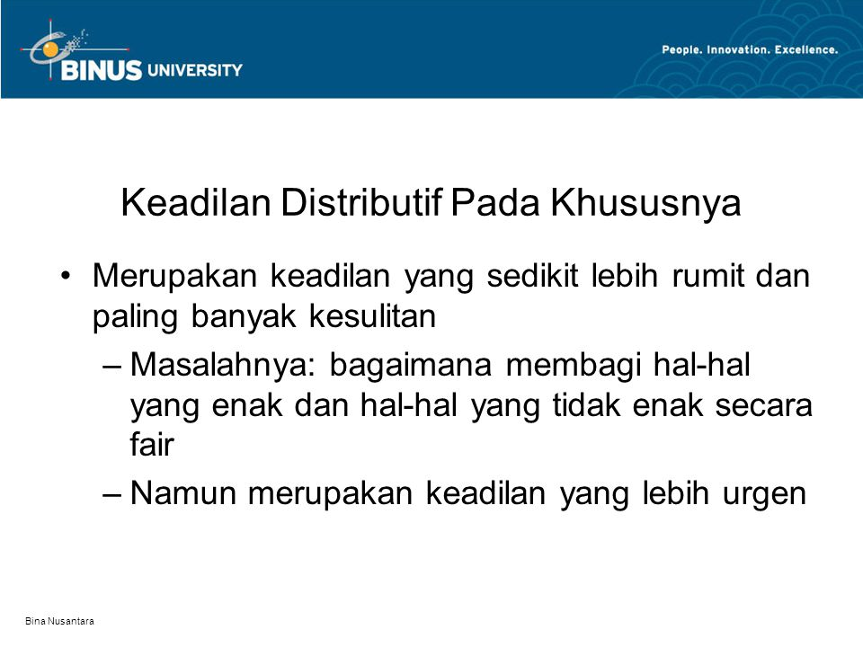 Keadilan Distributif Pada Khususnya