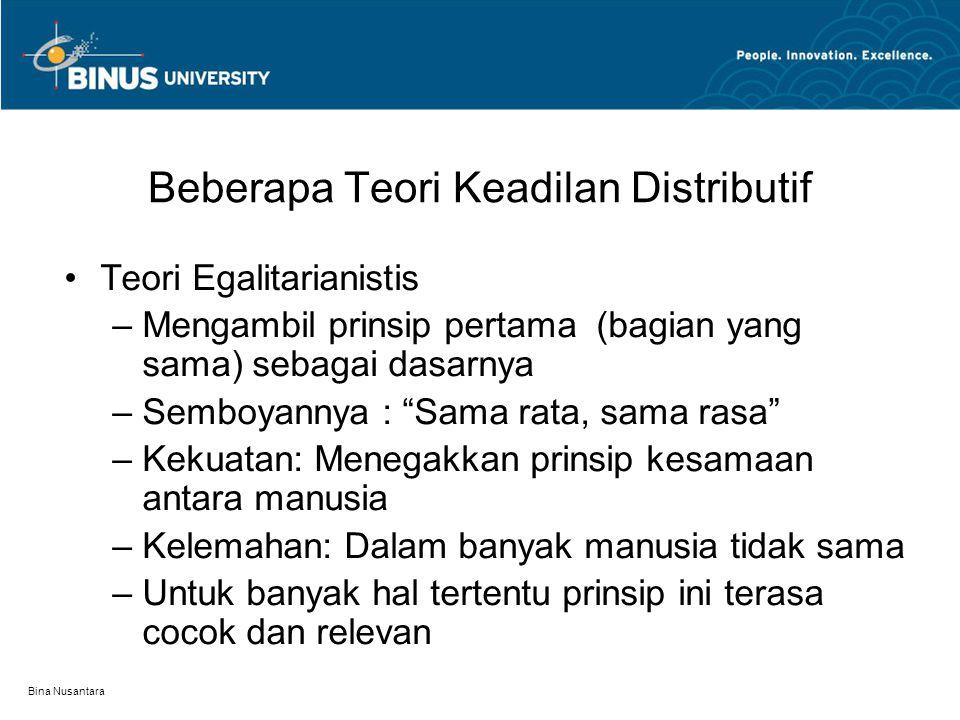 Beberapa Teori Keadilan Distributif