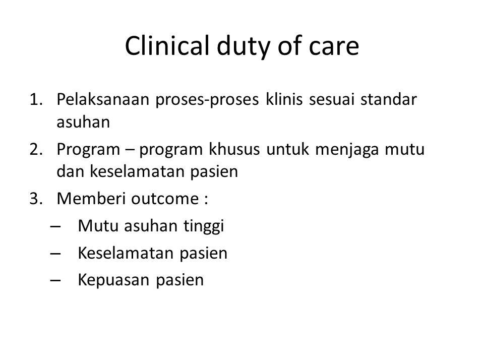 Clinical duty of care Pelaksanaan proses-proses klinis sesuai standar asuhan. Program – program khusus untuk menjaga mutu dan keselamatan pasien.
