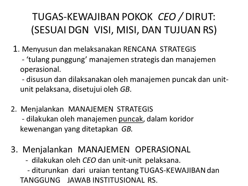 TUGAS-KEWAJIBAN POKOK CEO / DIRUT: (SESUAI DGN VISI, MISI, DAN TUJUAN RS)