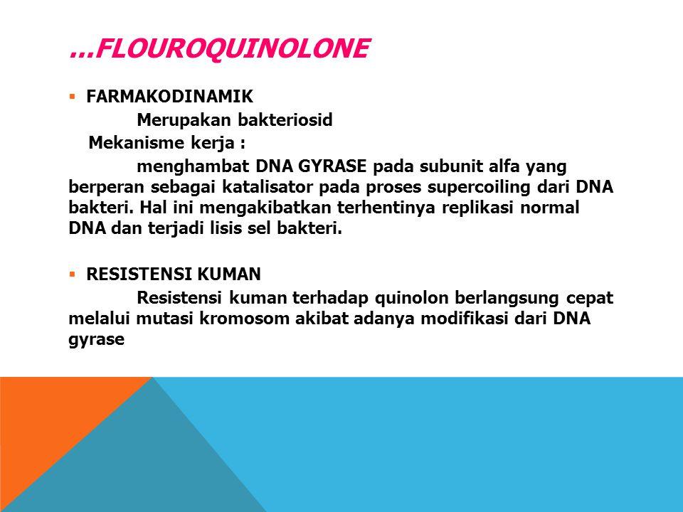 ...FLOUROQUINOLONE FARMAKODINAMIK Merupakan bakteriosid